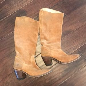 FRYE camel suede boots